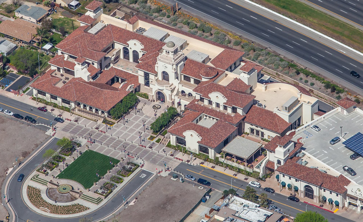 Corona Tapered and Turret clay roof tile in B332-R Houstonian Blend on Temecula Civic Center