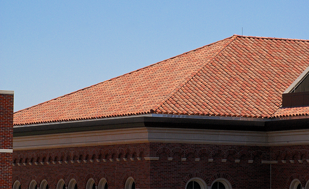 Detail of Corona Tapered Mission clay roof tile in CB471 USC Campus Blend on USC Michelson Center in Los Angeles, California