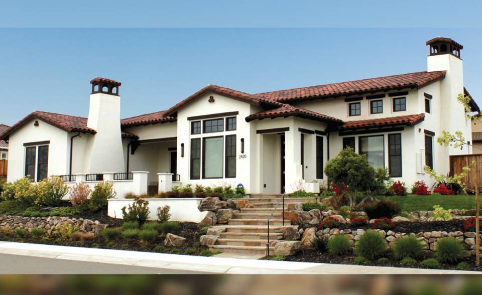 "Classic ""S"" Mission Clay Roof Tile in B330-R Old Santa Barbara Blend - Residence in Northern California"