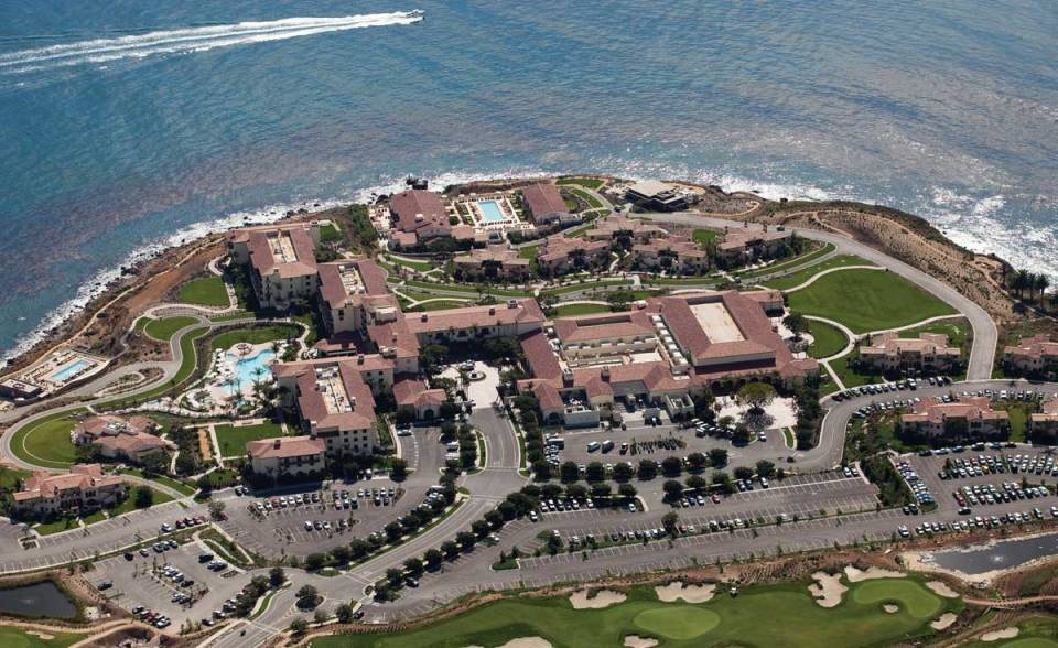 aerial view of one piece s mission clay roof tile in various custom blend with two piece eave application on Terranea Resort in Rancho Palos Verdes, California