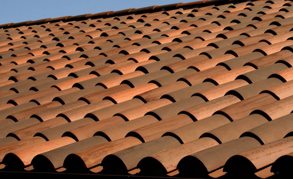 Classic S mission clay roof tile with 2 piece eave line in 1/3 B330-R Old Santa Barbara Blend, 1/3 2F45-SC Tobacco Sand Cast, and 1/3 2F45CC16D Tierra Brown Dark (Smooth) on custom home in El Cajon, California