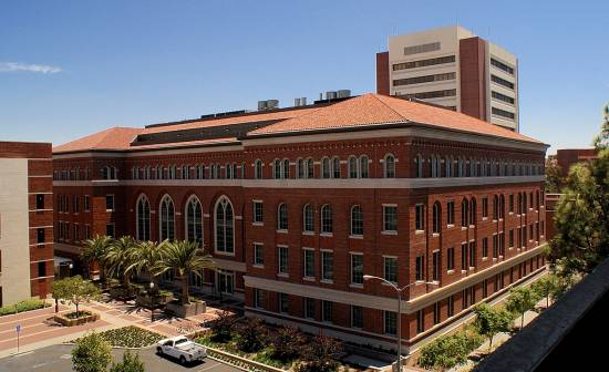 Corona Tapered Mission clay roof tile in CB471 USC Campus Blend on USC Michelson Center in Los Angeles, California
