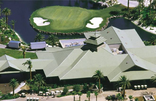 MF108 Flat clay roof tile in custom green matte color on Bali Hai club house on lake Las Vegas, nevada