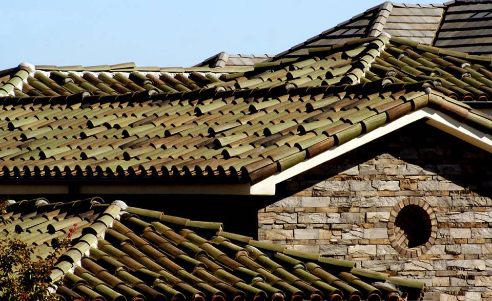 Detail of Classic S mission clay roof tile in CB388-R vintage green blend on home in San Diego, CA.