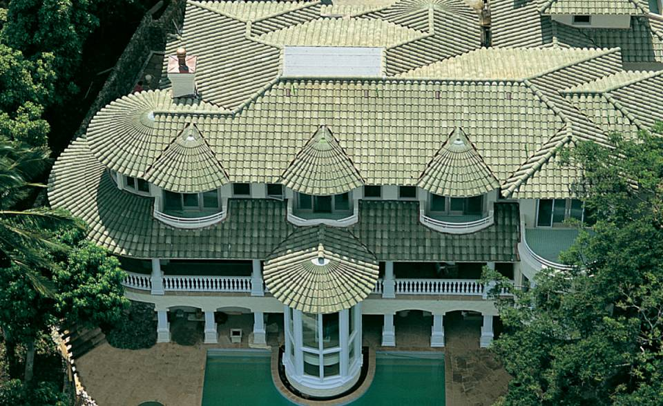 180 and 75 degree turret tiles in B305 weathered green blend on home in Kaneohe bay, Hawaii