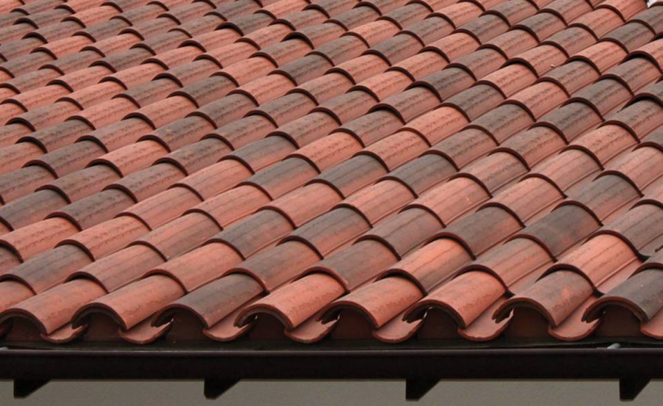 "Classic ""S"" Mission Clay Roof Tile in B330-R Old Santa Barbara Blend Two Piece Eave Detail - Residence in Northern California"