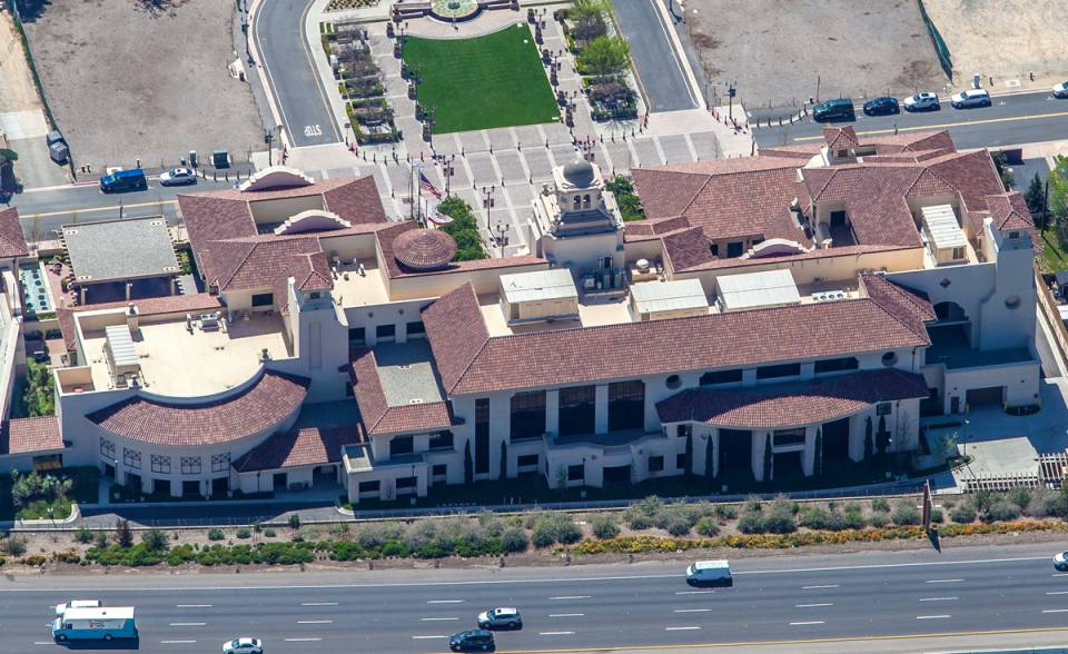 Eyebrow turret and 360 degrees turret clay roof tile in B332-R Houstonian Blend on Temecula Civic Center