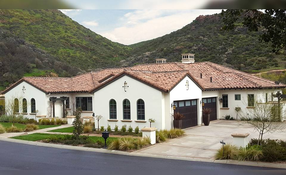 "One Piece ""S"" Mission Clay Roof Tile in CB364-R Vintage Carmel Blend - Home in Thousand Oaks, CA"