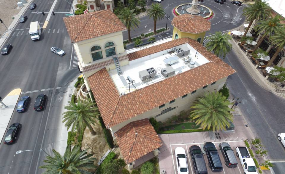 Corona Tapered Mission clay roof tile in custom blend on Tivoli Village at Queensridge in Las Vegas, Nevada