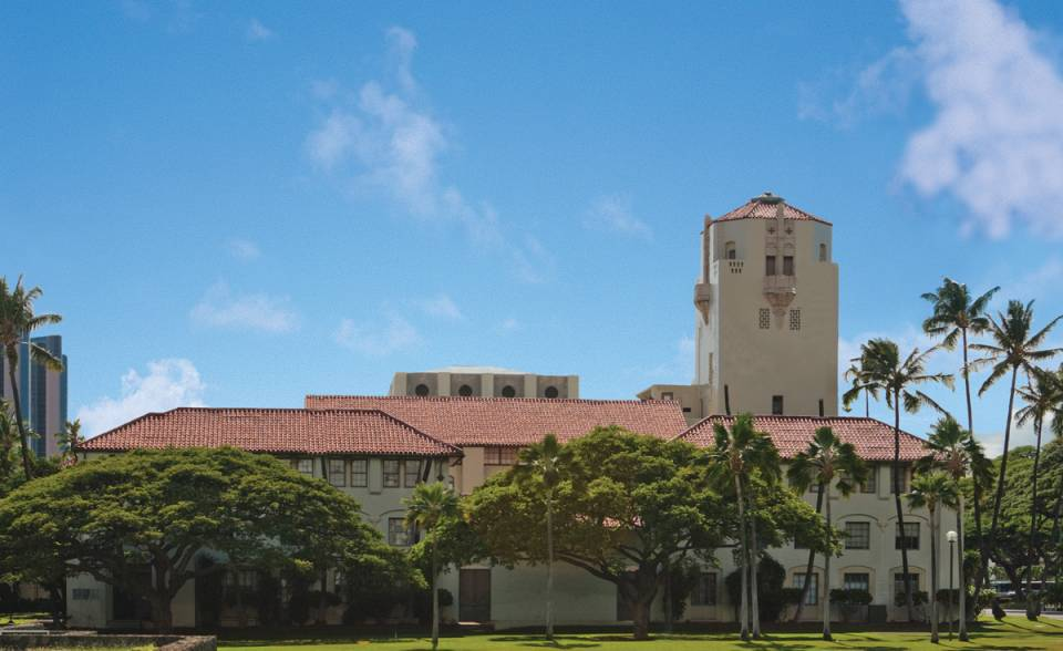 8 inch straight barrel mission clay roof tile in B308 Canyon Red Blend for historical restoration of Honolulu Hale in Hawaii