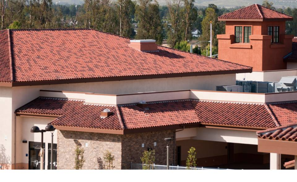 detail of finished roof with Polyset AH-160 application on Orchard Hills K-8 School, Irvine, CA
