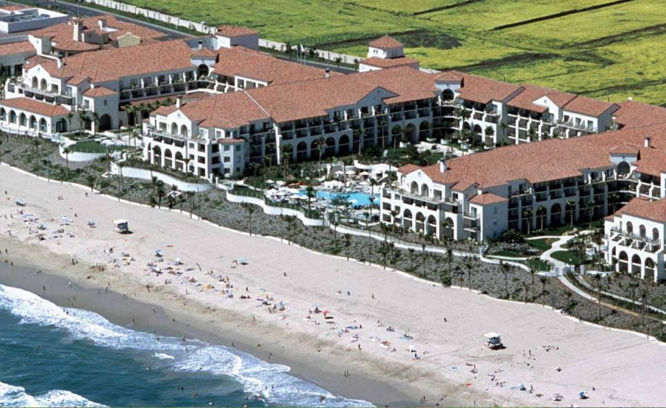 aerial view of one piece s mission clay roof tile in B301 Old Mission blend on Hyatt Regency in Huntington Beach, california