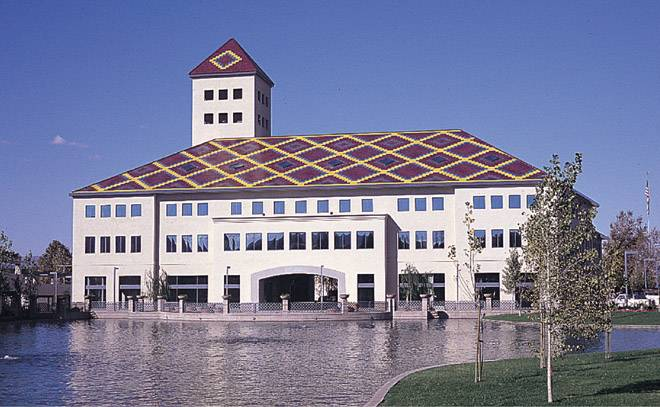 MF108 Flat clay roof tile in 4 different custom colors on office building in Temecula california
