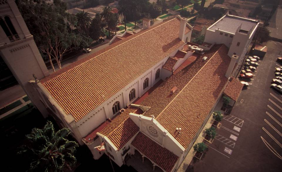 8 inch straight barrel mission clay roof tile historical restoration tile colors to match originals on Wilshire United Methodist Church Los Angeles California
