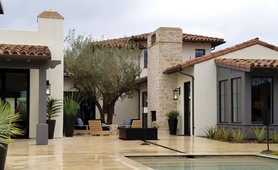 Classic S mission clay roof tile in CB46-SC Rustic Tuscan Blend on one in Coral Canyon, Newport Coast, CA