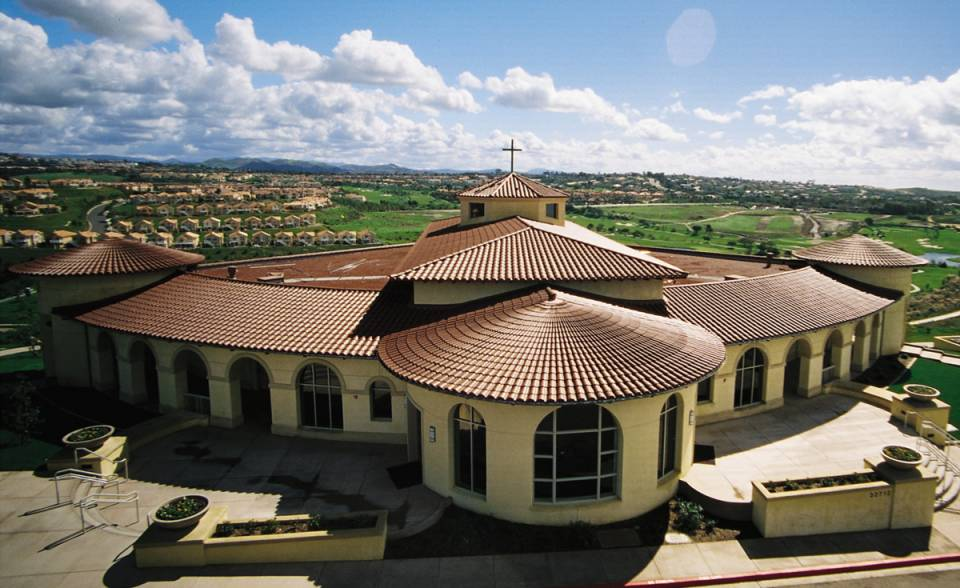 aerial view of straight barrel mission and turret clay roof tile in 2F22 Burnt Sienna on Church, Laguna Niguel, CA
