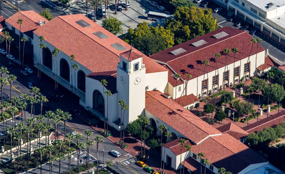 los angeles union station 2015 renovation aerial view with historical replica clay roof tiles