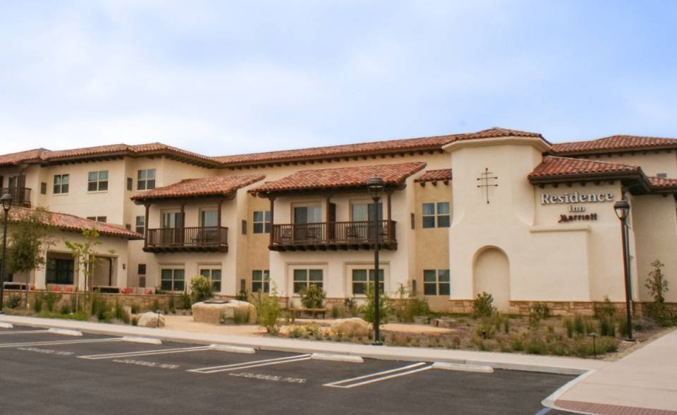 Corona Tapered mission two piece clay roof tile in CB447 Marriott Blend on Residence Inn hotel in Goleta, CA