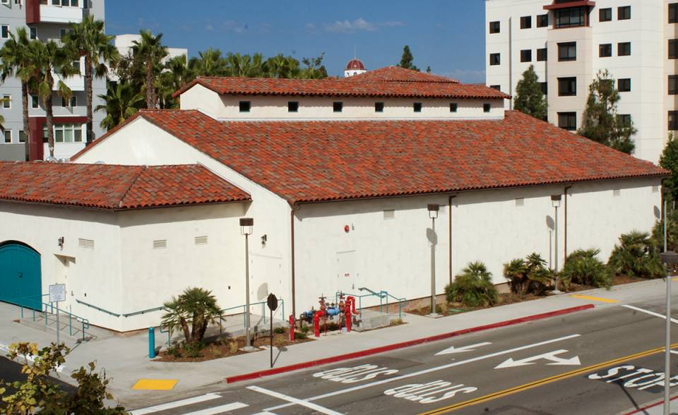 Corona Tapered mission two piece clay roof tile in B322 Santa Maria Blend on SDSU Tula Community Center San Diego, California