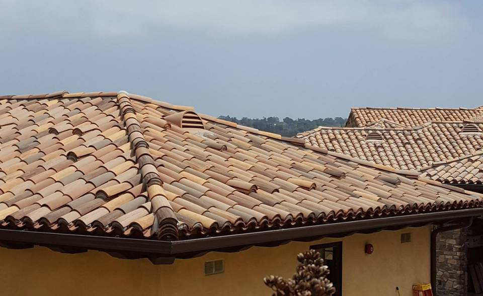 Classic tapered mission clay roof tile in various custom colors on home in Camarillo, CA